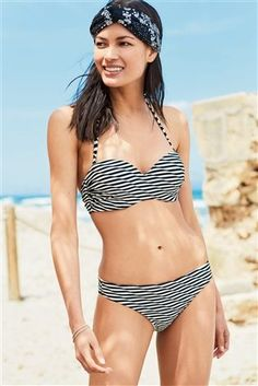 Buy Monochrome Textured Stripe Structured Bandeau Bikini Top from the Next UK online shop