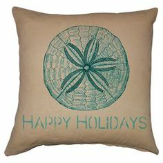 "Cotton-linen pillow with a sand dollar motif and typographic details.  Product: PillowConstruction Material: Cotton and linenColor: NaturalFeatures:  Knife edgeInsert includedDimensions: 20"" x 20""Cleaning and Care: Spot clean"