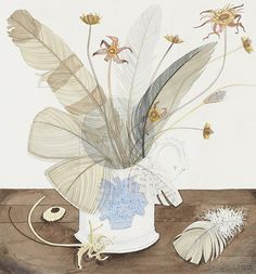 Angie Lewin, New Town Cup with Feathers and Seedheads (watercolour), 2016