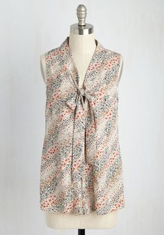 Miami Moments Top in Garden - Multi, Ivory, Floral, Work, Darling, Sleeveless, Summer, Better, Variation, V Neck, Tie Neck, Mid-length
