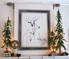 Anythingology DIY deer art done with a Sharpie and ball point pen on painter's drop cloth