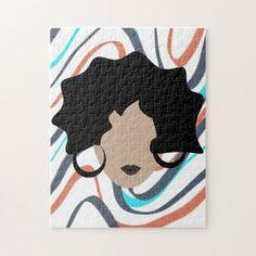 Shop Woman Wavy Black Hair Stylist Beauty Face Jigsaw Puzzle created by DreamBigDigital.