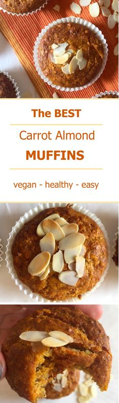 Try out these delicious and super easy carrot almond muffins! They are the perfect dessert and this recipe is vegan and healthy too. And also, I can't stop eating them -seriously.