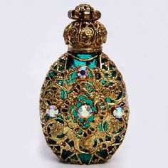Handmade, Mouth Blown Czech Bohemian Glass - Price $25.00 - Historical replica of centuries old perfume bottle.
