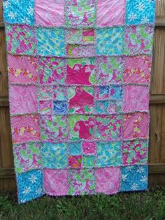 Beautiful Lilly Pulitzer Rag Quilt Throw with by dmaeredesigns, $259.00