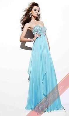 Long Light Sky Blue A-Line Sleeveless Prom Dress