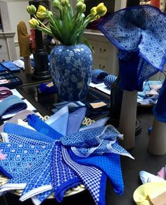 Anderson & Sheppard - Our pretty cotton pocket squares in many a shade of blue. #summerskies #cotton #pocketsquares