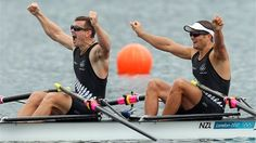 Golds for New Zealand and South Africa in the rowing. In this photo Joseph Sullivan and Nathan Cohen celebrate winning the men's double sculls on day 6 - London 2012 Olympics