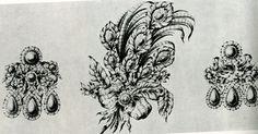 Joalharia do Barroco, século XVII. Inspiração retirada da botânica e floricultura -natureza exótica trazida pelas Descobertas-.