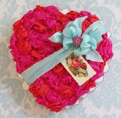 Nitas candy box.  Inspiration for making crepe rosettes on a heart shaped box for Valetine's.