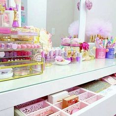 Pretty makeup collection #vanity #storage #Makeup
