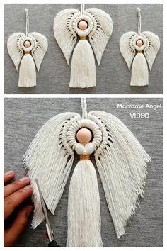 Macrame Owl, Macrame Knots, Macrame Projects, Crochet Projects, Christmas Angels, Christmas Crafts, Diy Angels, Macrame Wall Hanging Diy, Angel Crafts