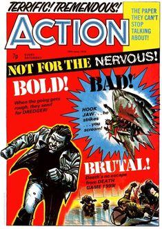Cover for Action (IPC, 1976 series) June 1976 Abc Warriors, Judge Dredd, Action, Comics, British, Cover, Dandy, 3, Childhood