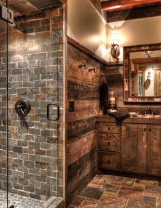 slate brick log bathroom
