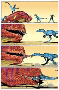 "Age of Reptiles ""The Hunt"" issue Let sleeping carnotaurs… Dinosaur Funny, Dinosaur Art, Bd Comics, Cute Comics, Funny Comics, Prehistoric Creatures, Mythical Creatures, Jurrassic Park, Rage Comic"