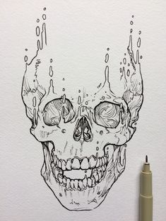 Le plus récent Images skull Drawing Style Dark Art Drawings, Art Drawings Sketches, Cool Drawings, Skull Drawings, Drawing Art, Skeleton Drawings, Skull Sketch, Tattoo Design Drawings, Skull Tattoo Design
