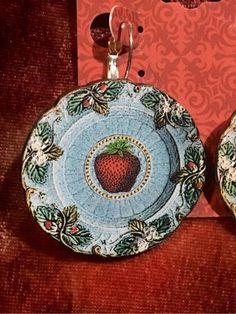 Wooden Strawberry Plate Earrings