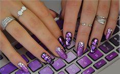 Elegant Nail Designs - 77 Timeless Ideas For Your Finger Nails Purple Acrylic Nails, Purple Nail Art, Purple Nail Designs, Elegant Nail Designs, Pretty Nail Art, Colorful Nail Designs, Elegant Nails, Stylish Nails, Nail Art Designs