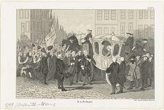 Anonymous   Aankomst van Willem IV te Amsterdam, 1748, Anonymous, Emrik & Binger, 1853 - 1861   Aankomst van prins Willem IV te Amsterdam op 2 september 1748. De koets met de stadhouder wordt in de straten feestelijk toegejuicht door publiek langs de weg, links de vaandel Oranje en de Vryheid. Genummerd rechtsboven: LXVI.