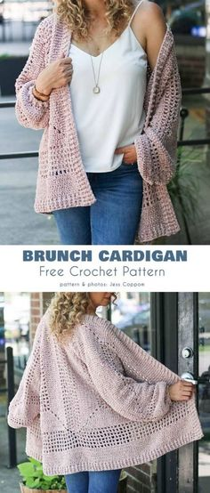 Brunch Cardigan free crochet pattern - knitting is as easy as 3 . - Brunch Cardigan free crochet pattern – knitting is as easy as 3 knitting comes down to thre - Cardigans Crochet, Crochet Clothes, Crochet Shrugs, Crochet Crafts, Easy Crochet, Chunky Crochet, Chunky Yarn, Diy Crafts, Gilet Crochet