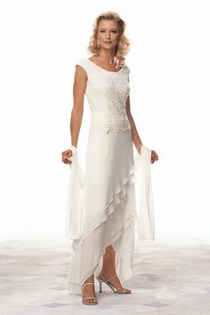 Sheath/Column Scoop High Low Hem Chiffon Mother of the Bride Dress