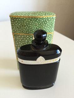"""Caron """"Nuit de Noel"""" Black Opaque Flacon Perfume Parfum Bottle & Box, Vintage Perfume Bottle"""