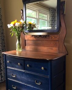 Coastal blue milk paint and Java gel stain by General finiahes