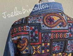 Joli veste en jean, style ethnique, taille 40, décoré, relooké, customisé par mes soins Style Ethnique, Facon, Ethnic Fashion, Vera Bradley Backpack, Jeans, Burgundy, Etsy Shop, Denim, Pretty