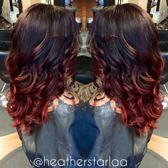 Violet base brown into red red balayage ombre