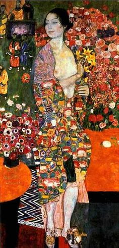 The Dancer, Gustav Klimt Pinning this because of shiny gold mixed with blocks of colour and pattern work