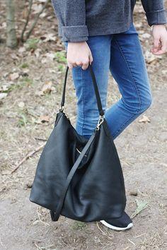 NELA Black Leather Hobo Bag LARGE Shoulder Bag by MISHKAbags