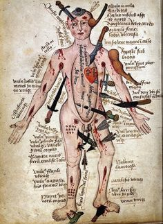 """…a compendium of all the injuries that a body might sustain. Captions beside the stoic figure describe the injuries and sometimes give prognoses: often precise distinctions are drawn between types of injuries, such as whether an arrow has embedded itself in a muscle or shot right through."""