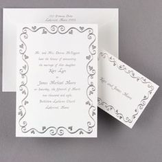 Silver Embossed Hearts Border Invitation Hi-white non-folding invitation card with silver foil embossed hearts surrounding your invitation wording. Lined inner envelopes and matching enclosures are sold separately. Scroll Wedding Invitations, Engagement Invitations, Wedding Veils, Wedding Cards, Wedding Day, Wedding Stuff, Wedding Images, Wedding Pictures, Wedding Ceremony Supplies