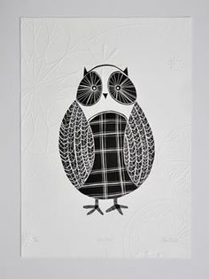 Annie Smits Sandano Title: 'Wise Owl' Medium: Limited edition wood cut print with embossing Dimensions: 500 mm x 700 mm Number of prints in edition: 35