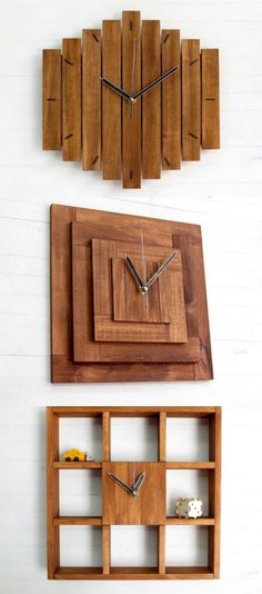 15 Home Decoration Ideas To Bring Out A Rustic Flair 15 Wooden Wall Decor, Wood Home Decor, Wooden Wall Art, Wooden Walls, Wall Art Decor, Room Decor, Wall Decorations, Deco Originale, Wood Clocks