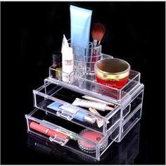 Clear Makeup Cosmetic Organizer Case Drawers Jewelry storage Acrylic Box #Affiliate