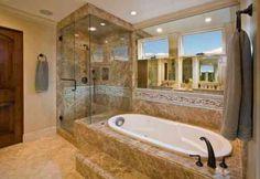 déco de salle de bain avec cabine de douche et baignoire