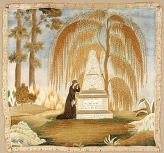 RISD Museum: Charlotte Bicknell, American, 1775-1864. Inscribed to the remains of Mrs. Sabra D. Ellis, 1808. Silk; watercolor. 52.1 x 54.6 cm (20 1/2 x 21 1/2 inches). Gift of the Estate of Charlotte Parsons 33.056
