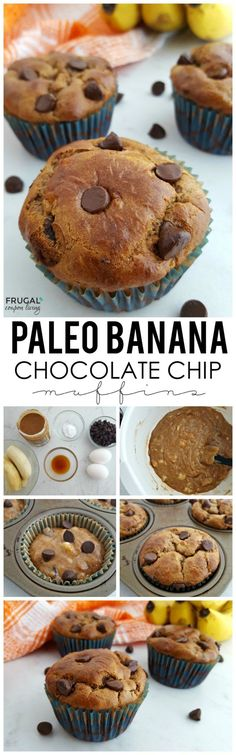 Paleo Banana Chocolate Chip Muffins Recipe on Frugal Coupon Living using bananas, chocolate chips, almond butter, eggs and more. Natural Clean Eating Muffin Idea. Great Paleo breakfast or Paleo snack.