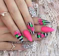 stripes and 3D rose nails with full bling nails ins tired from pinterest