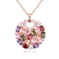 Find More Pendants Information about 18K Rose Gold Cubic Zirconia Drop Pendant  Necklace Multicolor AAA+ Swiss Genuine Cz pendant For Women Jewelry Free shipping,High Quality fashion hosiery,China cz alphabet Suppliers, Cheap fashion jewelry fashion jewelry from Dux Ornaments(diy earrings cartilage earring) on Aliexpress.com