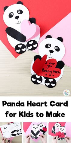 Looking for easy Valentines crafts for kids to make at school or at home? These printable panda heart Valentines Day cards are cute, fun and easy Valentine's Day crafts for kids! Find out how to make Valentines cards crafts for kids here! Easy Preschool Crafts, Valentine's Day Crafts For Kids, Diy Gifts For Kids, Bee Crafts, Handmade Crafts, Handmade Rugs, Panda Craft, Valentine Crafts For Kids, Valentine Party
