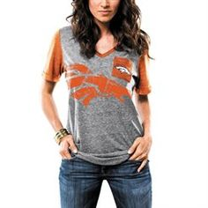 Women's Denver Broncos Majestic Gray Break The Limit V-Neck Tri-Blend T-Shirt