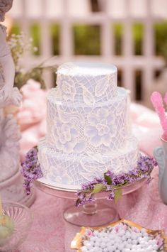 purple and faux lace wedding cake