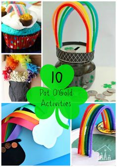 10 Pot of Gold Rainbow Activities. Ideal for kids to make this Spring or St Patrick's Day. Click for full details.