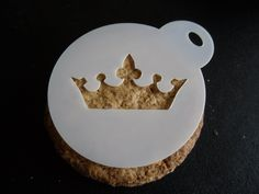 Unique bespoke new laser cut princess crown cookie,craft & face painting stencil Face Painting Stencils, Body Painting, Crown Cookies, Coffee Stencils, Coffee Latte Art, Candy Popcorn, Cake Stencil, Biscuit Cookies, Stencil Designs
