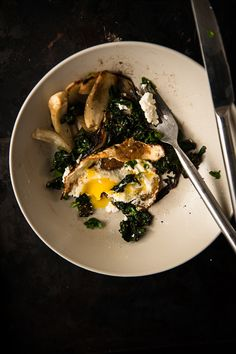 Fried Egg with Feta, Roasted Fennel and Swiss Chard