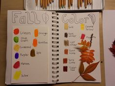 Journal pages for fall colors using colored and watercolor pencils