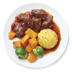 Braised Beef & Polenta with Roasted Brussels Sprouts, Butternut Squash ...