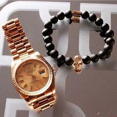 Rolex with onyx bead bracelet with rose gold skull #highpointla #menswear #inspiration #menstyle #luxury #dailybracelet #mensfashion #mensfashionpost #mensaccessories #menwithstyle #skulls #la #cali #nyc #miami #bracelet